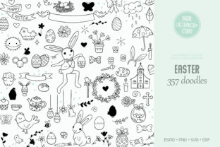 Easter Doodles, Hand Drawn Decorated Egg Graphic Illustrations By Digital_Draw_Studio