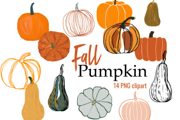 Fall Clipart with Pumpkin Graphic Illustrations By lena-dorosh