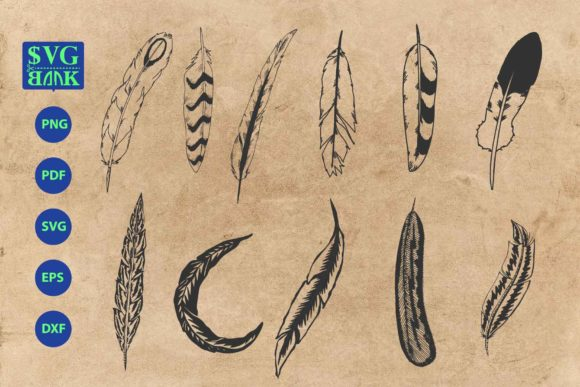 Print on Demand: Feathers Bohemian Element Bundle Graphic Crafts By svgBank