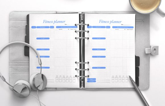 Fitness Planner Blue Graphic KDP Interiors By Nickkey Nick