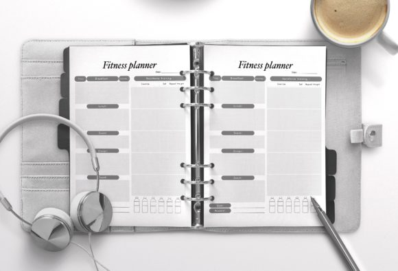 Fitness Planner Gray Graphic KDP Interiors By Nickkey Nick