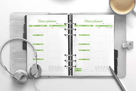 Fitness Planner Green Graphic KDP Interiors By Nickkey Nick