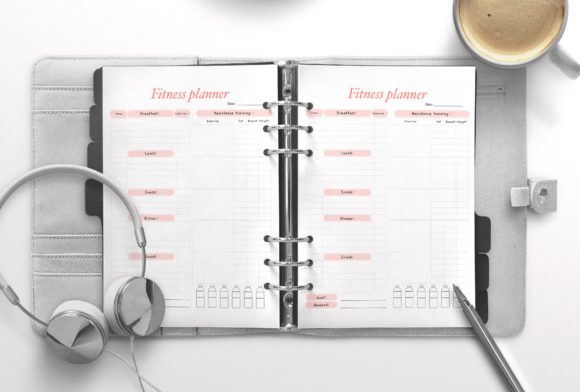 Fitness Planner Red Graphic KDP Interiors By Nickkey Nick