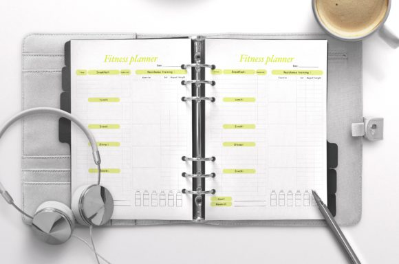 Fitness Planner Yellow Graphic KDP Interiors By Nickkey Nick