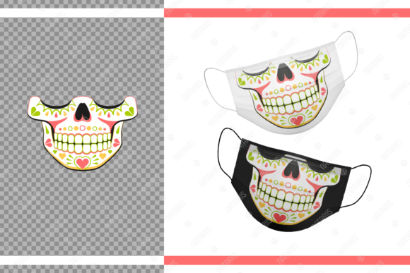 Funny Sugar Skull Hearts for Face Mask Graphic Crafts By Natariis Studio