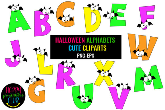 Print on Demand: Halloween Alphabets Clipart Graphic Illustrations By Happy Printables Club