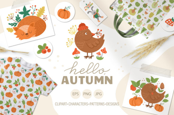 Hello, Autumn Graphic Illustrations By lexiclaus