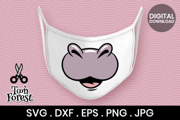 Print on Demand: Hippo Nose Cut File for Face Mask Graphic Crafts By Toon Forest