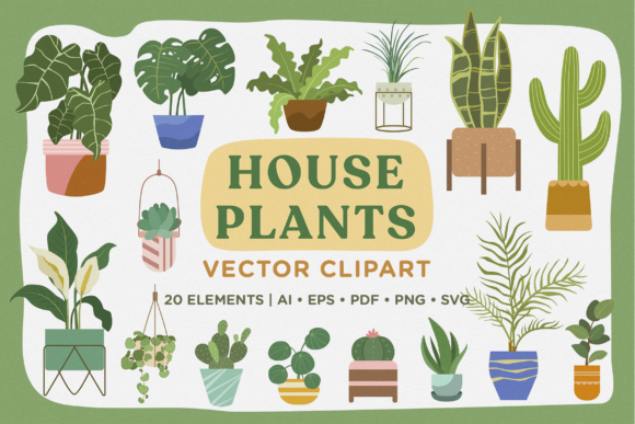 Print on Demand: House Plants Vector Clipart Pack Graphic Illustrations By Telllu