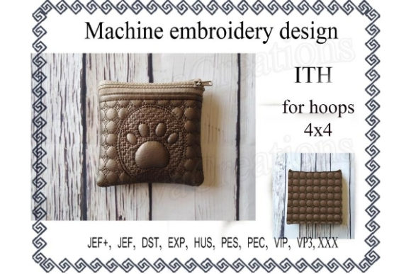 ITH Zippered Bag Dog's Paw Embroidery