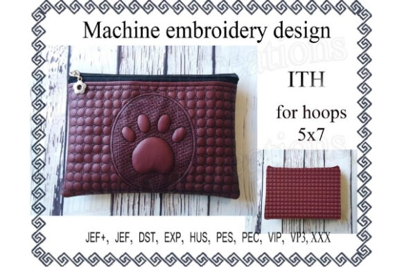 ITH Zippered Bag Dog's Paw Sewing & Crafts Embroidery Design By ImilovaCreations