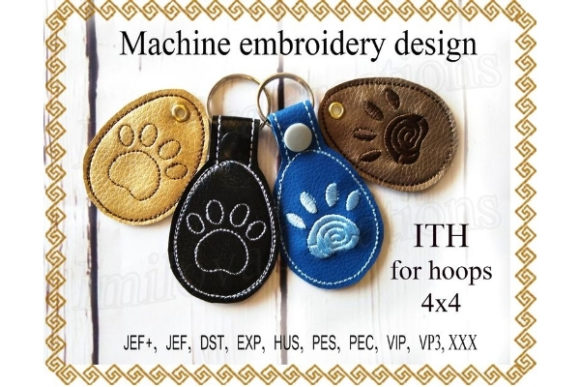 Key Fob Paw Snap Tab Key in the Hoop Sewing & Crafts Embroidery Design By ImilovaCreations - Image 1