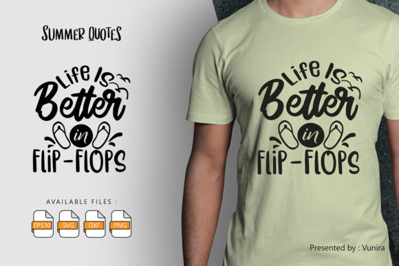 Print on Demand: Life is Better in Flip Flop | Lettering Graphic Crafts By Vunira