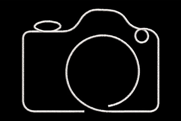 Print on Demand: Minimalistic One Line Camera Shapes Embroidery Design By Embroidery Shelter
