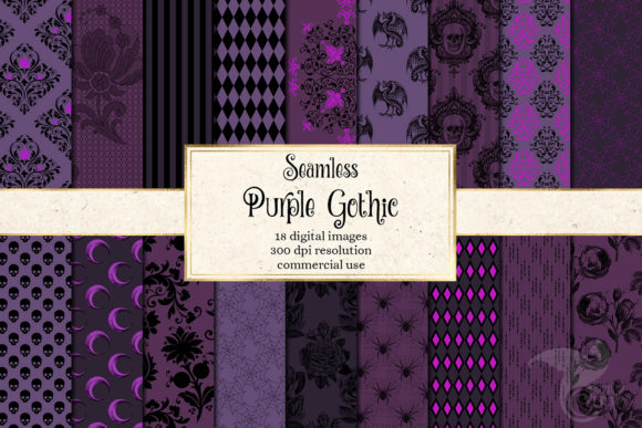 Print on Demand: Purple Gothic Digital Paper Graphic Backgrounds By Digital Curio