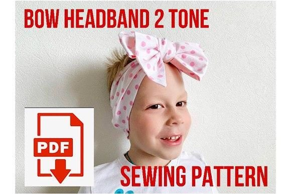 Reversible Bow Baby Headband Grafik Sewing Patterns von Cotton Miracle Studio