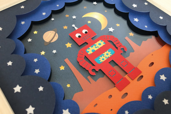 Robot in Space - 3D Shadow Box Template Graphic 3D Shadow Box By Sea Salt and Samphire