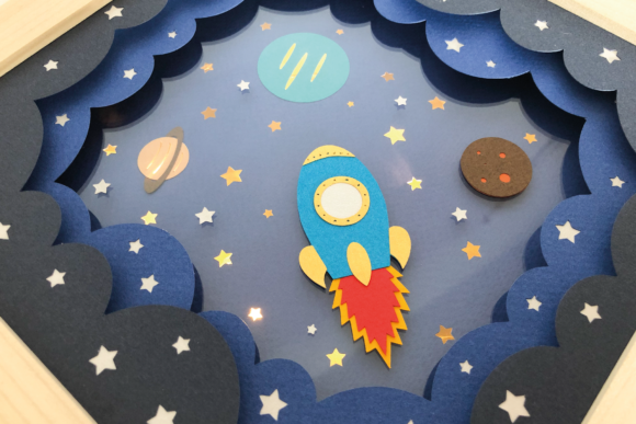 Rocketship - 3D Shadow Box Template Graphic 3D Shadow Box By Sea Salt and Samphire