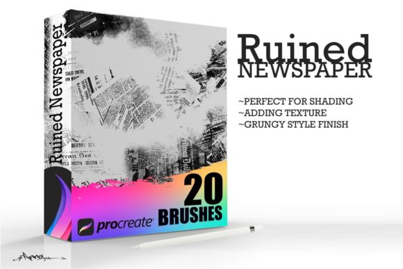 Ruined Newspaper Procreate Brushes Graphic Brushes By Annex