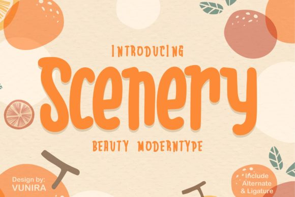 Print on Demand: Scenery Display Font By Vunira