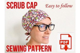 Scrub Cap Sewing Pattern Style#7 Graphic Sewing Patterns By Cotton Miracle Studio