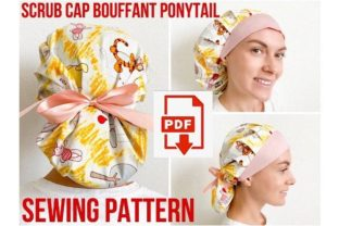 Scrub Cap Style#8 Bouffant Ponytail Graphic Sewing Patterns By Cotton Miracle Studio