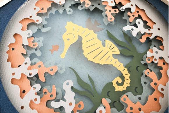 Seahorse - 3D Shadow Box Template Graphic 3D Shadow Box By Sea Salt and Samphire