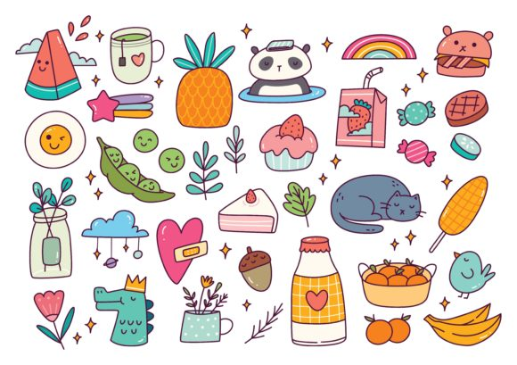 Set of Cute Doodle Vector Illustration Graphic Illustrations By Big Barn Doodles
