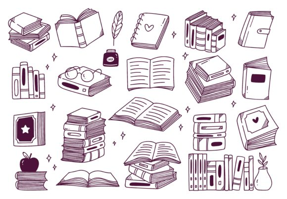 Set of Hand Drawn Books Doodle Graphic Illustrations By Big Barn Doodles