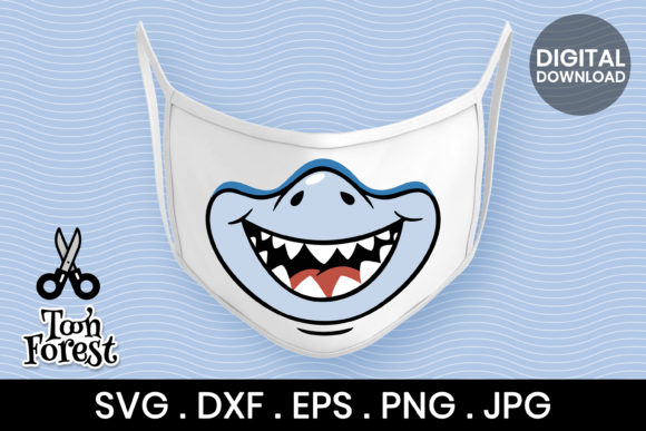 Print on Demand: Shark Mouth Cut File for Face Mask Graphic Crafts By Toon Forest