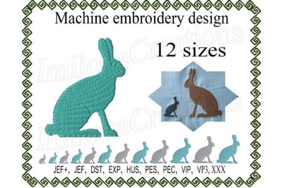 Silhouette Rabbit Farm Animals Embroidery Design By ImilovaCreations