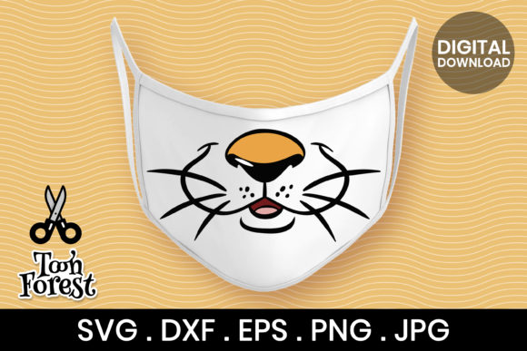 Print on Demand: Tiger Nose Cut File for Face Mask Graphic Crafts By Toon Forest