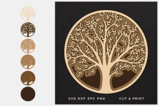 Tree of Life, Tree Cut File Graphic 3D SVG By 2dooart
