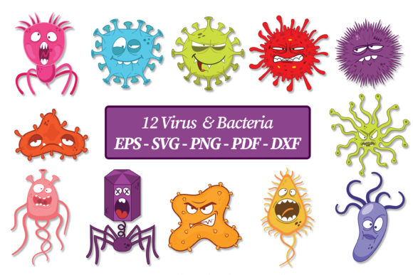 Print on Demand: Virus & Bacteria ClipArt   Vector Files Graphic Illustrations By FounDream