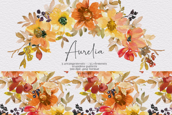 Watercolor Autumn Floral Clipart Set Graphic Illustrations By Patishop Art