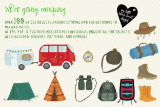 We're Going Camping Set Graphic Illustrations By My Little Black Heart