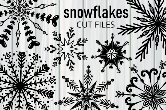 Print on Demand: Winter Silhouette Snowflakes Cut Files Graphic Crafts By Prawny