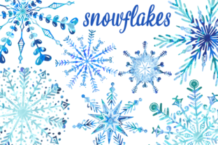 Print on Demand: Winter Wonderland Watercolor Snowflakes Graphic Illustrations By Prawny