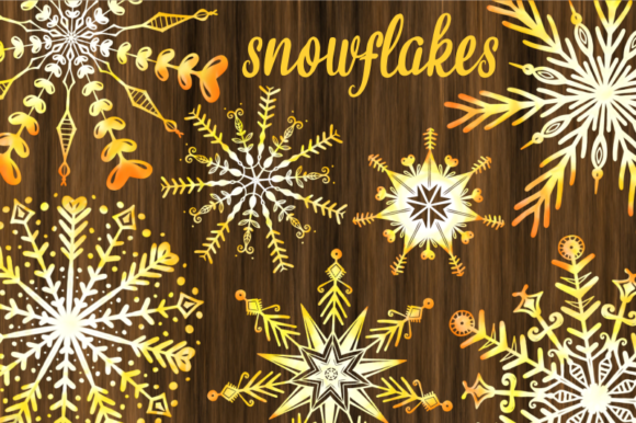 Print on Demand: Yellow Watercolor Christmas Snowflakes Graphic Illustrations By Prawny