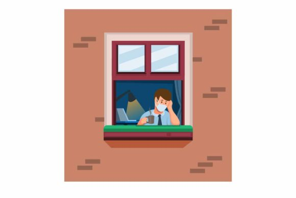 Print on Demand: Bored Man on Window Wfh Concept Vector Graphic Illustrations By aryo.hadi
