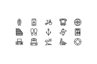 Travel Line Icon Design Vector Graphic Icons By scribble.liners