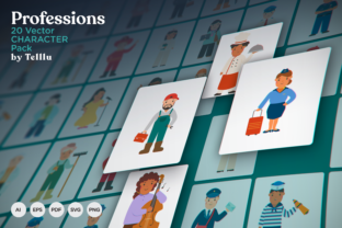 Print on Demand: 20 Profession Character Pack Graphic Illustrations By Telllu