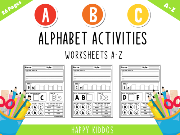 Alphabet Activities Worksheets a-Z Set 3 Graphic K By Happy Kiddos