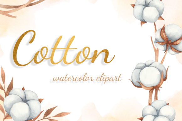 Print on Demand: Autumn Cotton Watercolor Clipart Graphic Illustrations By JuliaKutsaieva