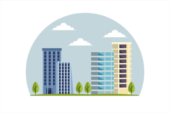 Print on Demand: Building Modern Town Illustration Graphic Illustrations By edywiyonopp