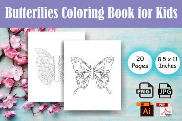 Print on Demand: Butterfly Kids Coloring Book - KDP Graphic Coloring Pages & Books Kids By Sei Ripan