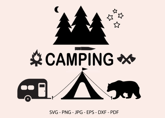 Camping Silhouette Clipart Graphic Crafts By RedCreations