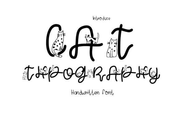 Print on Demand: Cat Typography Decorative Font By CSDesign