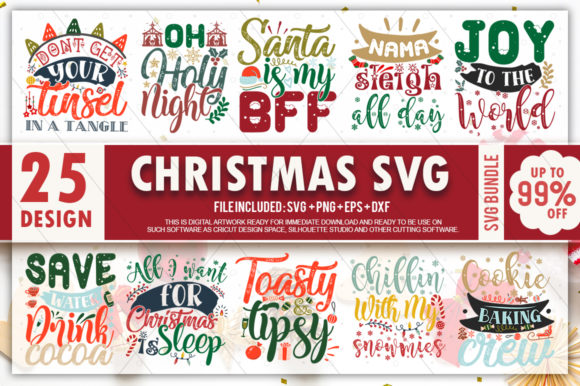 Print on Demand: Christmas Quotes Bundle Graphic Crafts By PrintableSvg