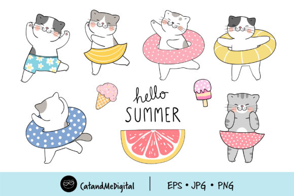 Clip Art Collection Summer Cats Graphic Illustrations By CatAndMe